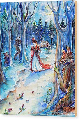 Wood Print featuring the painting Red Riding Hood And Werewolves by Heather Calderon