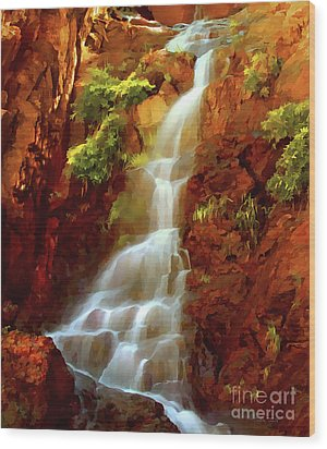Wood Print featuring the painting Red River Falls by Peter Piatt