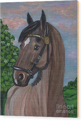 Red Roan Horse Wood Print by Anna Folkartanna Maciejewska-Dyba
