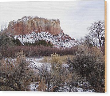 Red Rock Butte In Snow Wood Print