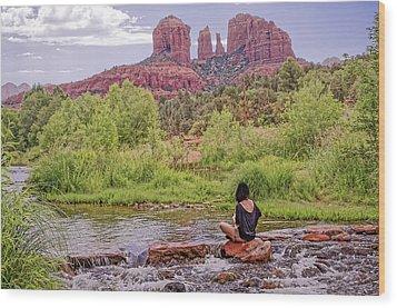 Red Rock Crossing -  Sedona Arizona Usa Wood Print by Tony Crehan