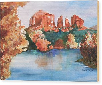 Wood Print featuring the painting Red Rock Crossing by Sharon Mick