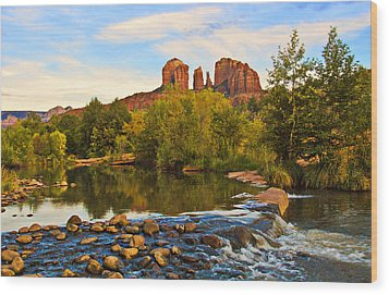 Red Rock Crossing Three Wood Print by Paul Basile