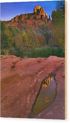 Red Rock Reflection Wood Print by Mike  Dawson