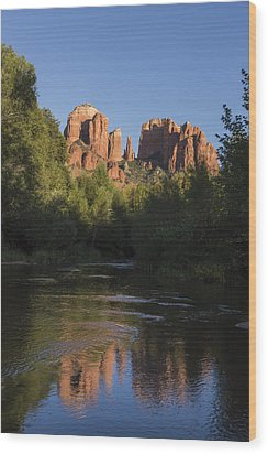 Red Rock Reflections Wood Print by Laura Pratt