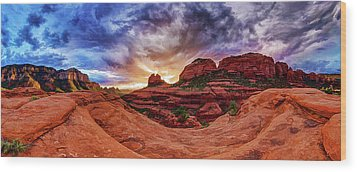 Red Rock Storm Wood Print by ABeautifulSky Photography