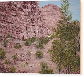 Red Rock Trail Wood Print by Roseann Gilmore