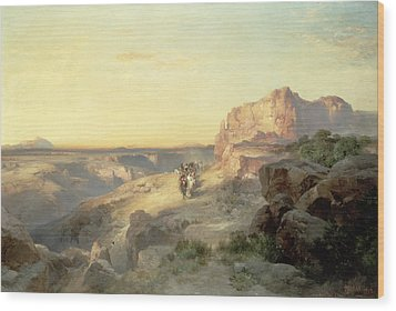 Red Rock Trail Wood Print by Thomas Moran