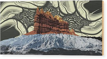 Red Rock White Ice Wood Print by Ron Bissett