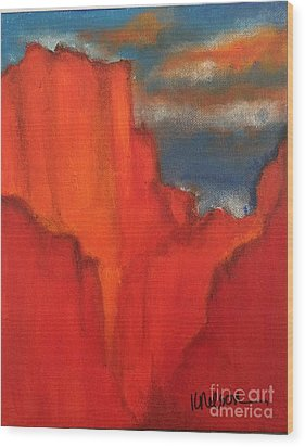 Wood Print featuring the painting Red Rocks by Kim Nelson