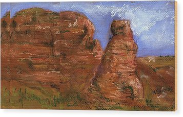 Red Rocks Wood Print by Marilyn Barton