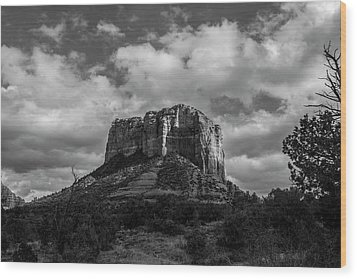 Wood Print featuring the photograph Red Rocks Sedona Bnw 1 by David Haskett