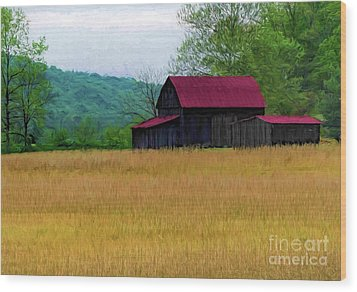Red Roof Barn Wood Print