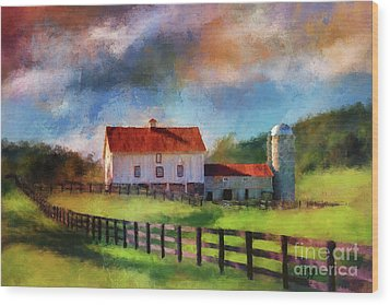Wood Print featuring the digital art Red Roof Barn by Lois Bryan