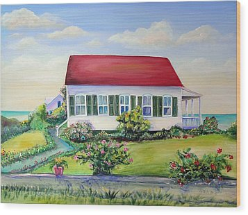 Wood Print featuring the painting Red Roof Inn by Patricia Piffath
