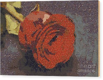 Red Rose Abstract Wood Print by Shirley Stalter