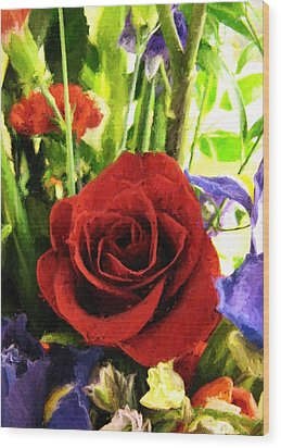 Red Rose And Flowers Wood Print