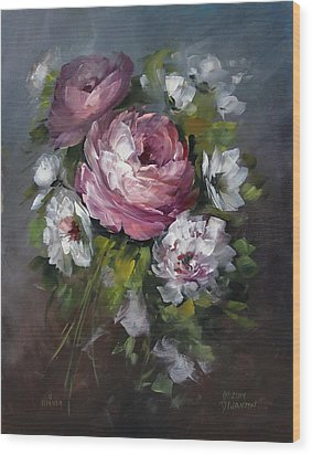 Red Rose And White Peony Wood Print by David Jansen