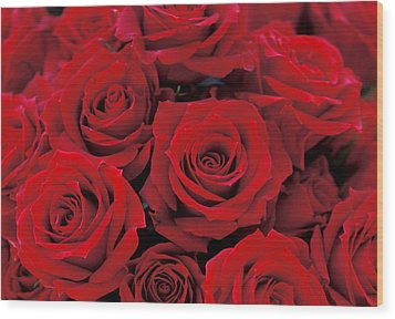 Red Rose Bouquet Wood Print by Kathy Yates