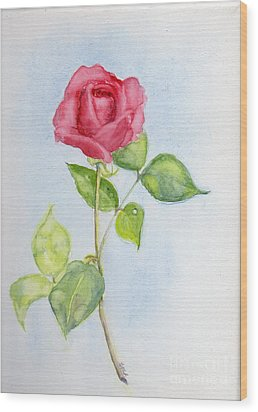 Red Rose Wood Print by Doris Blessington