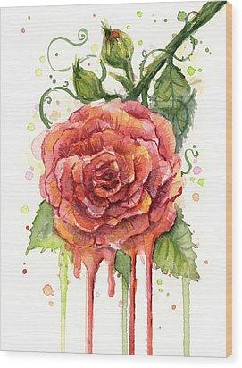 Red Rose Dripping Watercolor  Wood Print by Olga Shvartsur