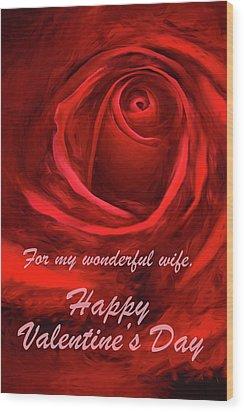 Red Rose II Wood Print