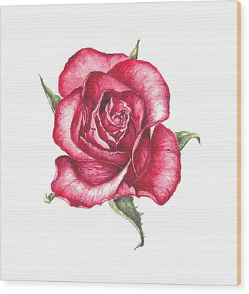 Wood Print featuring the painting Red Rose by Heidi Kriel