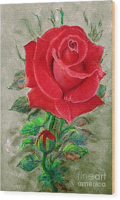 Red Rose Wood Print by Jasna Dragun
