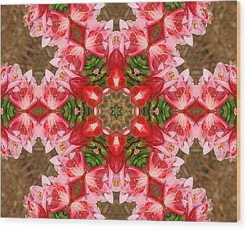 Red Rose Kaleidoscope Wood Print by Bill Barber