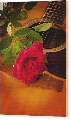 Red Rose Natural Acoustic Guitar Wood Print by M K  Miller
