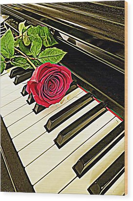 Red Rose On A Piano  Wood Print