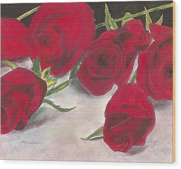 Wood Print featuring the drawing Red Rose Redux by Arlene Crafton