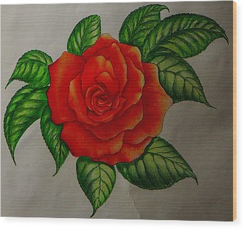 Red Rose Wood Print by Ron Sylvia