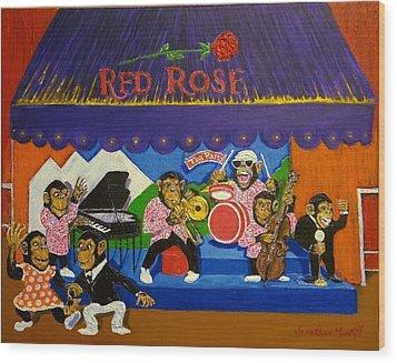 Red Rose Tea Chimpanzees Wood Print