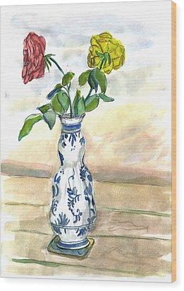 Red Rose Yellow Rose Wood Print