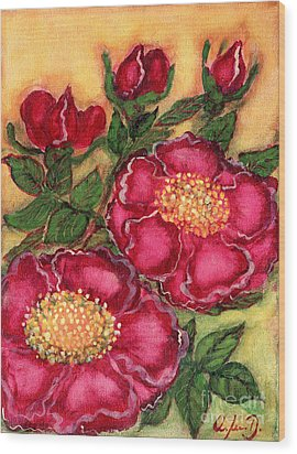 Red Roses Wood Print by Anna Folkartanna Maciejewska-Dyba