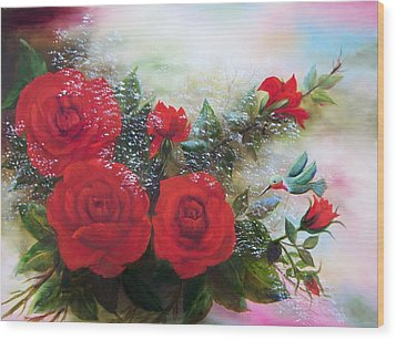 Red Roses Wood Print by Joni McPherson