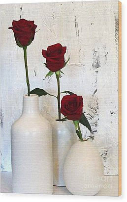 Red Roses On White Wood Print