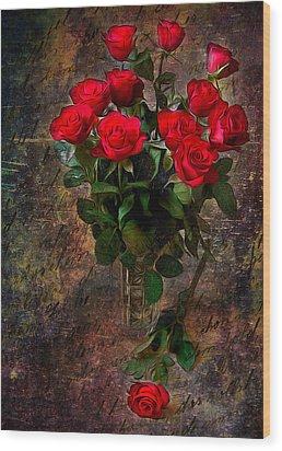 Red Roses Wood Print by Svetlana Sewell