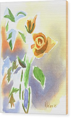 Wood Print featuring the painting Red Roses With Holly In A Vase by Kip DeVore