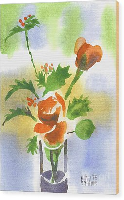 Wood Print featuring the painting Red Roses With Holly by Kip DeVore