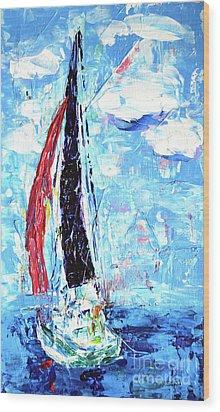 Red Sail Wood Print by Lynda Cookson