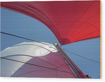 Wood Print featuring the photograph Red Sail On A Catamaran 3 by Clare Bambers