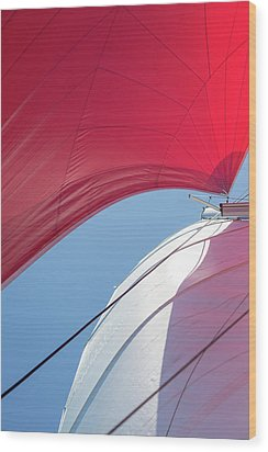 Wood Print featuring the photograph Red Sail On A Catamaran 4 by Clare Bambers