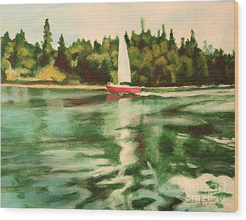 Red Sailboat North End Of Harstene Island Wood Print by Terri Thompson