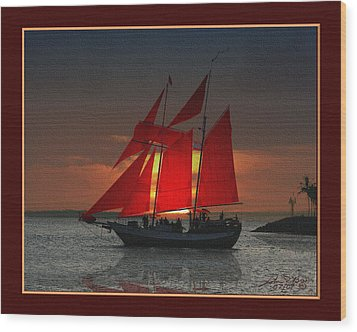 red sails at sunset in Key West Wood Print by John D Breen