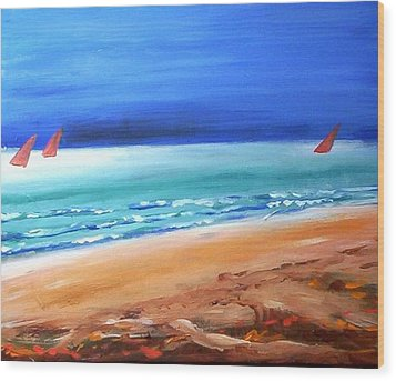 Wood Print featuring the painting Red Sails by Winsome Gunning