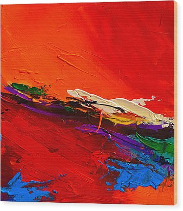 Wood Print featuring the painting Red Sensations by Elise Palmigiani
