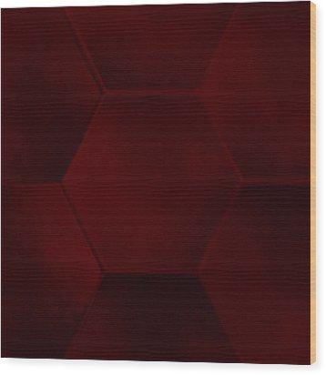 Red Sexagon Wood Print by Jouko Mikkola