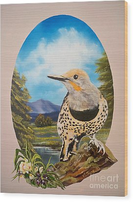 Wood Print featuring the painting Red Shafted Flicker by Sigrid Tune